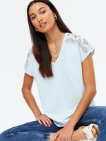 Thumbnail for your product : New Look Floral Crochet Trim Long T-Shirt - Blue