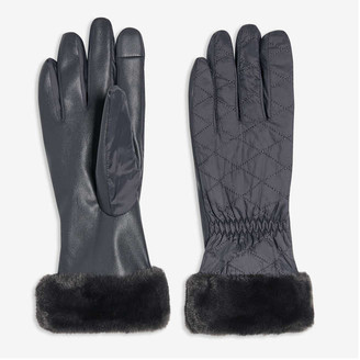 Joe Fresh Women's Quilted Gloves, Grey (Size L/XL)