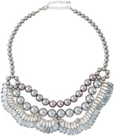 Fragments for Neiman Marcus Pearly Crystal Statement Bib Necklace, Silver