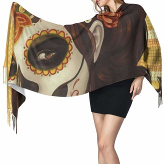 """Commer Day Of The Dead Sugar Skull Girl'S Face Art Printed Cashmere Scarf Large Soft Warm Shawl Wrap Scarf Tassels Scarves 77"""" X 27"""""""