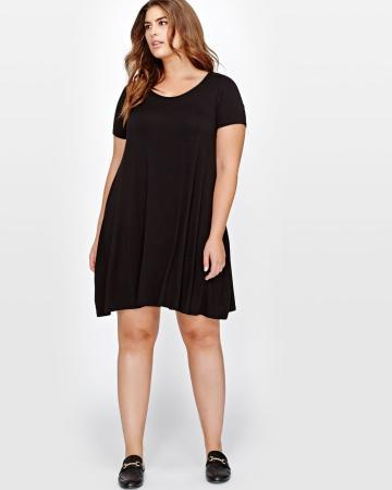 Addition Elle L&L Black Swing Dress with Scoop Neck