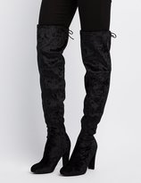 Charlotte Russe Velvet Tie-Back Over-The-Knee Boots