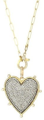Nina Gilin Two-Tone & Diamond Heart Pendant Necklace