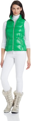 Coatology Womens Short Down Vest with Silver Zips