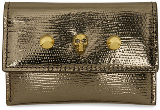Alexander McQueen Khaki Lizard Skull Studs Envelope Card Holder
