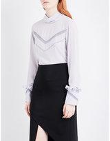 Nina Ricci High-neck frill-cuff silk blouse