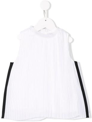 DKNY Side Stripe Pleated Top
