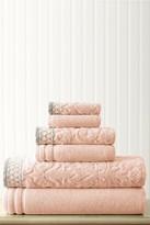 Amrapur Damask Jacquard Embellished Border Towel 6-Piece Set - Peach