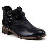 Diba Black Road Map Buckle-Accent Leather Ankle Boot