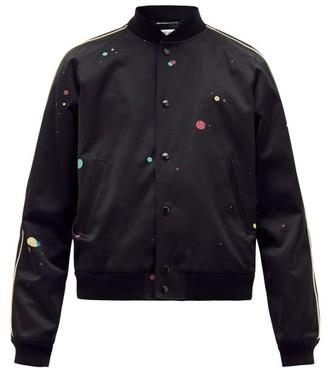 Saint Laurent Galaxy-print Satin Varsity Jacket - Mens - Black Multi
