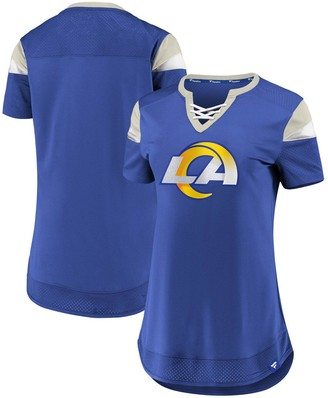 Women's Fanatics Branded Royal Los Angeles Rams Draft Me Lace-Up T-Shirt