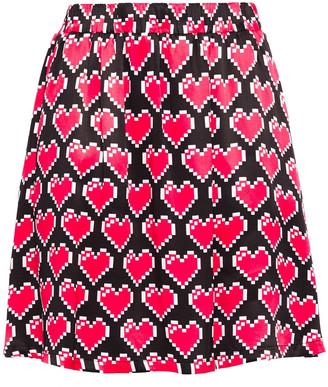 Love Moschino Printed Satin Mini Skirt