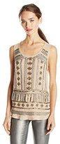 Lucky Brand Women's Crepe Beaded Tank Top
