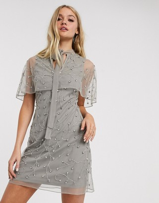 Frock and Frill embellished detail cape dress-Gray