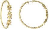 Penny Preville 18k Yellow Gold & Triple-Diamond Hoop Earrings