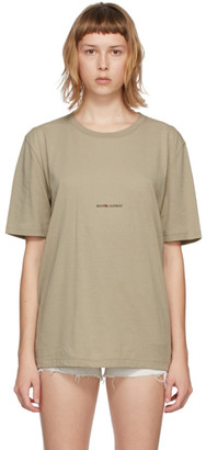 Saint Laurent Beige Rive Gauche Logo T-Shirt