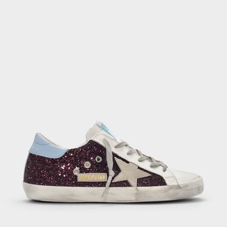 Golden Goose Superstar Sneakers In Burgundy Glitter Leather, Sky Blue Detail And White Star