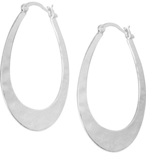 Essentials Hammered Oblong Hoop Earrings in Fine Silver-Plate