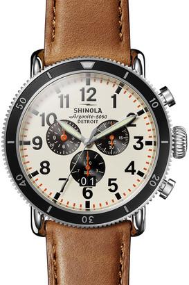 Shinola Men's 48mm Runwell Sport 3-Eye Chronograph Leather Watch