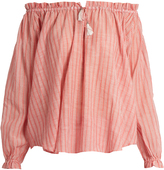 Zimmermann Roza off-the-shoulder striped cotton top