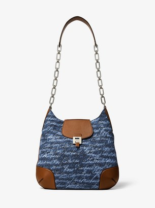 Michael Kors Bancroft Oversized Signature Print Denim Shoulder Bag