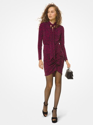 MICHAEL Michael Kors Leopard Matte-Jersey Tie-Neck Dress