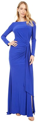 Vince Camuto Long Sleeve Gown with Drape Front (Cobalt) Women's Dress