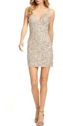 Mac Duggal V-Neck Sequin Cocktail Dress