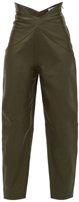 ATTICO The Butterfly-insert High-waist Leather Trousers - Womens - Green