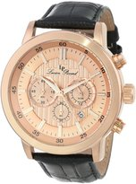 Lucien Piccard Men's 12011-RG-09 Monte Viso Chronograph Tone Textured Dial Black Leather Watch