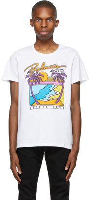 Balmain White Logo Graphic T-Shirt