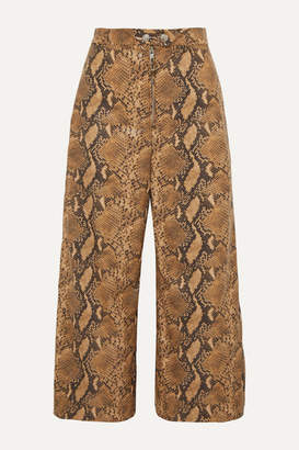 Ellery Nuance Cropped Snake-effect Faux Leather Wide-leg Pants - Brown