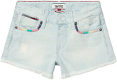 Tommy Hilfiger Bleached Denim Shorts with Multi Detail