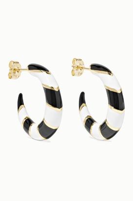 Alison Lou Petite Stripes 14-karat Gold And Enamel Hoop Earrings - White