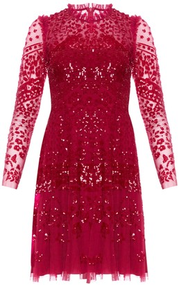 Needle & Thread Aurora red sequin-embellished tulle mini dress