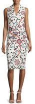 Alice + Olivia Jacki Sleeveless Embroidered Sheath Dress, White/Multicolor