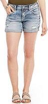 Silver Jeans Co. Sam Destructed Rolled Cuff Woven Stretch Denim Boyfriend Shorts
