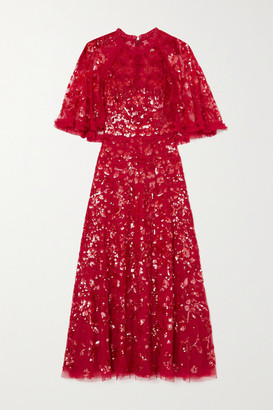 Needle & Thread Sequin Ribbon Ballerina Cape-effect Embellished Tulle Midi Dress - Red