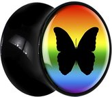 Body Candy Black Acrylic Rainbow Butterfly Saddle Plug Pair 0 Gauge