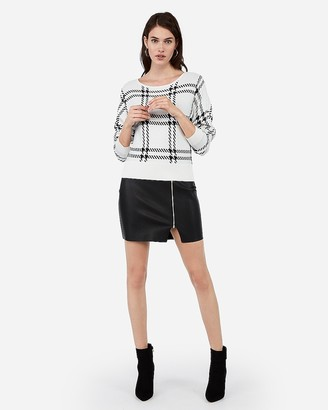 Express Plaid Banded Bottom Dolman Sleeve Sweater