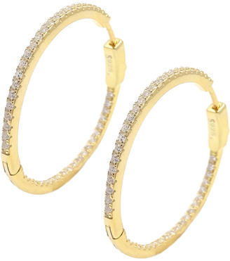 Savvy Cie 18K Over Silver Cz Inside Out Hoops