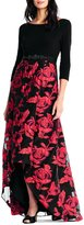 Adrianna Papell Rose Organza Printed Hi Low Gown