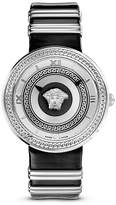 Versace V-Metal Icon Stainless Stain Watch with Black Leather Band, 40mm