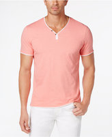 INC International Concepts Men's Feeder Striped Y-Neck T-Shirt, Created for Macy's
