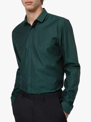 HUGO BOSS by Etran Herringbone Structure Extra Slim Fit Shirt, Dark Green