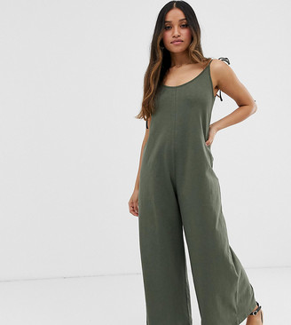 ASOS DESIGN Petite minimal jumpsuit with tie back in linen look