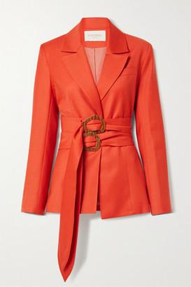 MATÉRIEL Belted Wool-blend Twill Blazer - Tomato red