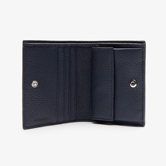 Lacoste Womens Croco Crew Grained Leather Bi-fold Wallet with Coin Purse