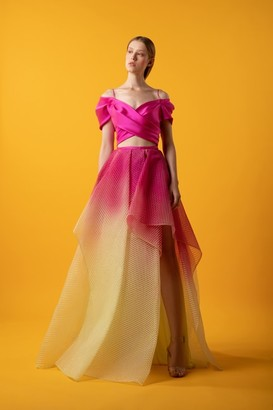 Gemy Maalouf Off Shoulder Flared Gown