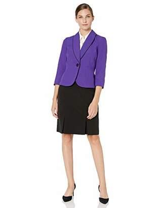 Le Suit Women's Textured Mini Plaid 1 Button Shawl Collar Skirt Suit